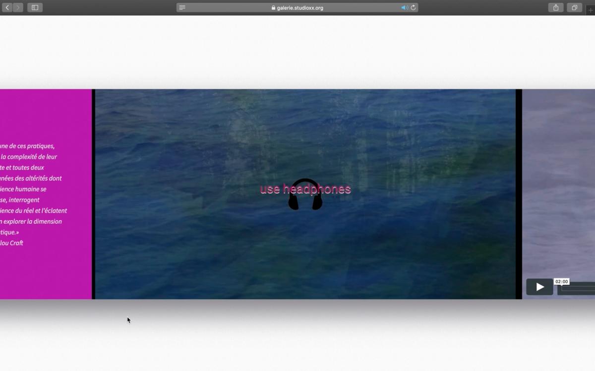Capture d'écran de X cosmos X, Olivia McGilchrist, 2020.